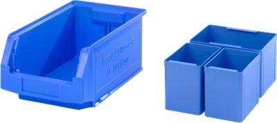 Sichtlagerkasten SSI Schäfer LF 321, L 343 x B 209 x H 145 mm, 7,5 l, blau + Einsatzkasten 2x EK111, 1x EK112