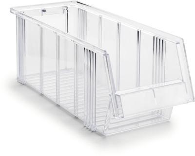 Sichtlagerkasten Treston Serie 1950, Polystyrol, L 500 x B 186 x H 182 mm, 9,6 L, transparent