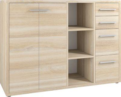 Sideboard-Kombination Player, 3 Regalfächer, 4 Schubladen, 2 Türen, B 1557 mm, Eiche