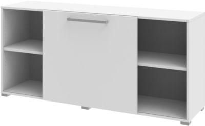 Sideboard mit Schiebefront TEQSTYLE, B 1600 mm, weiß/weiß