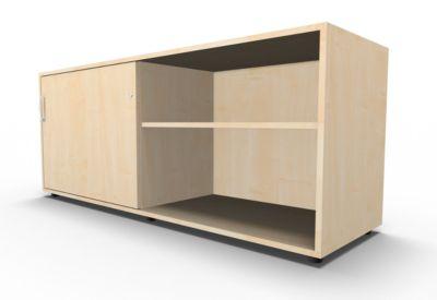 Sideboard, mit Schiebetür, abschließbar, Spanplatte, B 1600 x T 500 x H 663 mm, links anstellbar, Ahorn