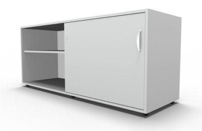 Sideboard, mit Schiebetür, abschließbar, Spanplatte, B 1600 x T 500 x H 663 mm, rechts anstellbar, lichtgrau