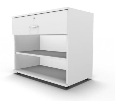 Sideboard, mit Schublade, abschließbar, Spanplatte, B 800 x T 420 x H 663 mm, weiß