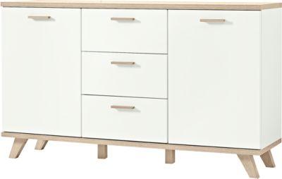 Sideboard OSLO, 3 Schübe, 2 Türen, B 1440 x T 400 x H 850 mm, weiß/Sanremo-Eiche-Nb.