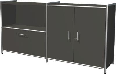 Sideboard Toledo, abschließbar, Schub + Regalfach, 2 OH, Flügeltüren, B 1580 x T 380 mm, anthrazit