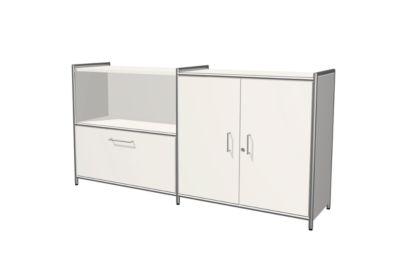 Sideboard Toledo, abschließbar, Schub + Regalfach, 2 OH, Flügeltüren, B 1580 x T 380 mm, weiß