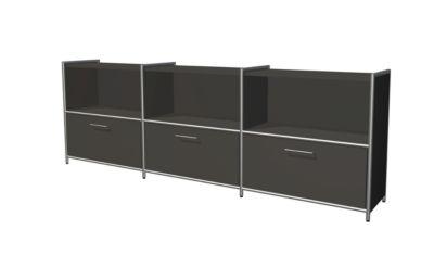 Sideboard Toledo, mit Sichtrückwand, 3 Schübe, 3 Fächer, 2 OH, B 2360 x T 380 mm, anthrazit