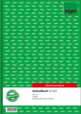 Sigel Aufmaßbuch SD069, DIN A4, speziell f. Bau und Handwerk, 50 Blatt