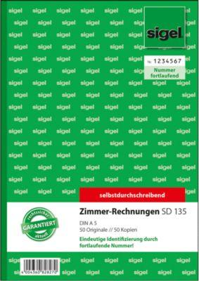 Sigel Formularbuch Zimmer-Rechnungen SD135, DIN A5, 2 x 50 Blatt