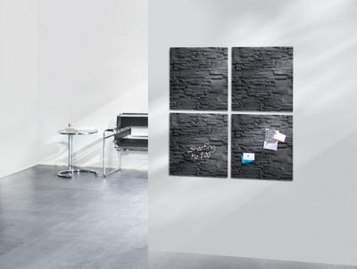 sigel® Glas-Magnettafel artverum®, 480 x 480 mm, Schiefer-Stone