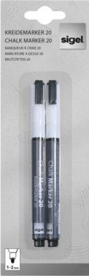 sigel Hochwertige Kreidemarker, 1 - 2 mm, weiß, 2 Stück