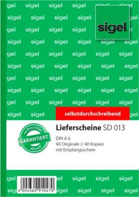 sigel® Lieferschein mit Empfangsschein SD 013, DIN A6 hoch, 2 x 40 Blatt, selbstdurchschreibend
