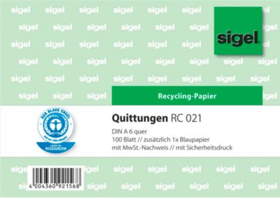sigel® Quittung RC021, DIN A6 quer, 100 Blatt, Recyclingpapier mit Sicherheitsdruck
