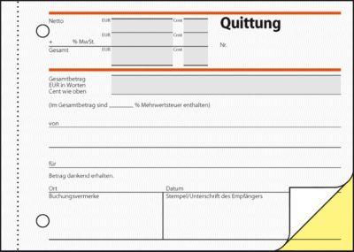 sigel® Quittungen mit MWSt.-Nachweis SD021, DIN A6 quer, 2 x 40 Blatt, selbstdurchschreibend