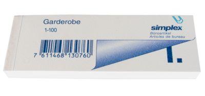 simplex Garderobenblöcke, 115 x 40 mm, 100 Blatt, 1-100, weiss