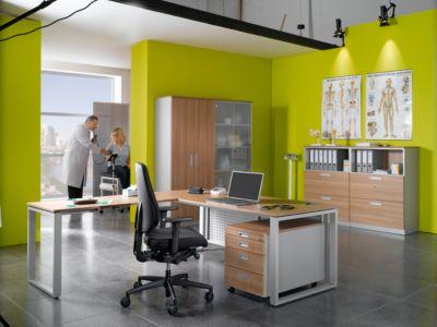 SINCERO LINE bureau, slede-onderstel, rechthoekig, b 1800 x d 800 mm, kersen Romana-decor/witalu