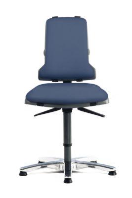 SINTEC 160 werkstoel bekleed met kunstleder, zonder armleuningen, blauw