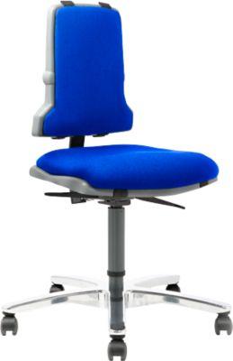 SINTEC 160 werkstoel met bekleding van stof, zonder armleuningen, blauw