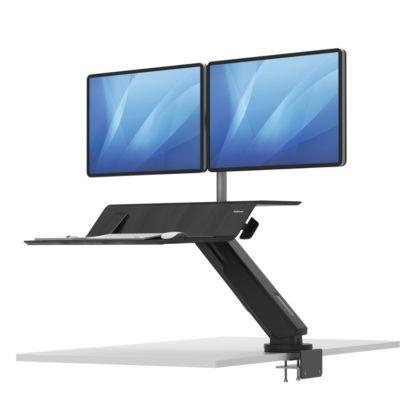 Sitz-Steh Workstation Fellowes Lotus RT, 2 Monitore 26″, höhenverstell-/ dreh-/schwenk-/neigbar, schwarz