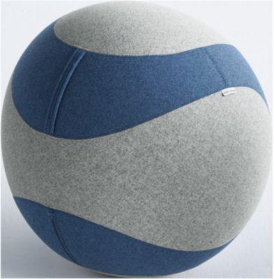 Sitzball DOTTO, mit Stoffbezug, ø 650 mm, grau/blau