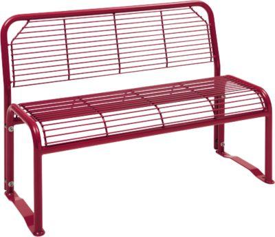 Sitzbank, 2-Sitzer, mit Gitternetz, für Außenbereich, weinrot (RAL 3005)