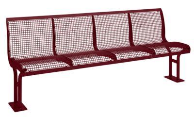Sitzbank Essen, mit Rückenlehne, 4 Sitzplätze, mit Flansch, pulverbeschichtet, weinrot