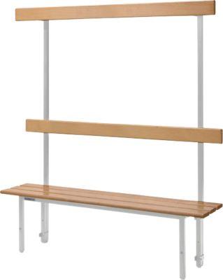 Sitzbank, für Umkleideräume, mit Rückwand, L 995 mm, lichtgrau