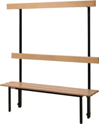 Sitzbank, für Umkleideräume, mit Rückwand, L 995 mm, schwarz