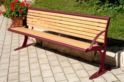 Sitzbank Mainz, Stahl mit Holzlattung, 4 Plätze, weinrot