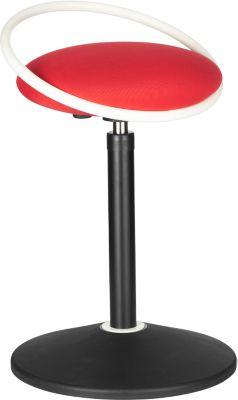 Sitzhocker ROVO SOLO mit Ring, 3D-Gestrick, weiß/rot