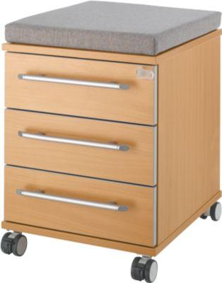 Sitzkissen für Rollcontainer Moxxo IQ 333, B 450 x T 400 x H 4 mm, Stoff grau + Schwerlastrollen, bis 100 kg, feststellbar