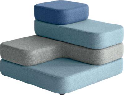 Sitzsystem TAPA Square, Stoff, modular, mit Drehmechanismus, B 900 x T 900 x H 620 mm, blau/blau