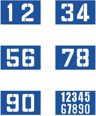 Sjablonenset voor wegmarkering 6 x cijfers