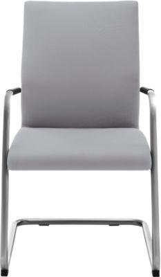 Sledestoel ACTOS, hoogte rugleuning 530 mm, wit aluminium, stof, grijs