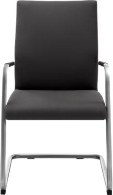 Sledestoel ACTOS, hoogte rugleuning 530 mm, wit aluminium, stof, zwart