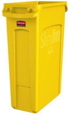 Slim Jim® afvalbak, 87 liter, geel