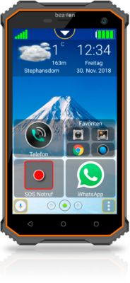 Smartphone Bea-fon X5 premium, IP68, 5″-Multi-Touch-Display, SOS-Funktion, schwarz-orange