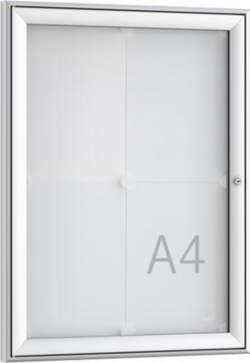 Softline mededelingenbord WSM FSK 4, ESG-glas, voor 4x A4 meldingen, verticaal