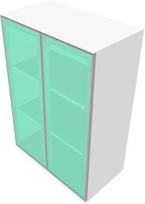 Solus kast 3x OH, glazen deuren, h 1123 x b 800 x d 440 mm, wit