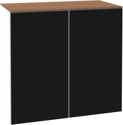 Solus opzetkast 2x OH, acryl glazen deuren, h 720 x b 800 x d 440 mm, wit/kersen-Romana