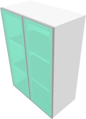 Solus opzetkast 2x OH, glazen deuren, h 720 x b 800 x d 440 mm, wit/kersen-Romana