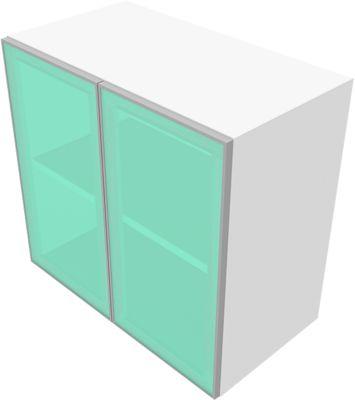 Solus opzetkast 3x OH, glazen deuren, h 1080 x b 800 x d 440 mm, wit
