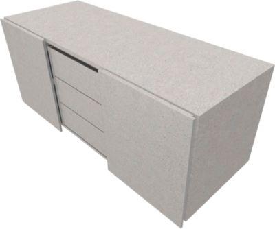 SOLUS PLAY multicontainer, 2 schuifdeuren, 3 laden, greeploos, B 1350 x D 523 x H 583 mm, Ceramic grey