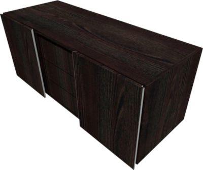 SOLUS PLAY multicontainer, 2 schuifdeuren, 3 laden, greeploos, B 1350 x D 523 x H 583 mm, Moor-eiken