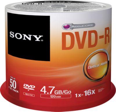 SONY® DVD-R, bis 16fach, 4,7 GB/120 min, 50er-Spindel