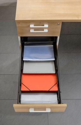 Sorteerbakjes, voor vaste en verrijdbare ladeblokken, A4, verstelbaar, 4 stuks