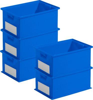 Spaarset stapelboxen serie 14/6-2, PP-kunststof, inhoud 21 liter, blauw, 5 stuks