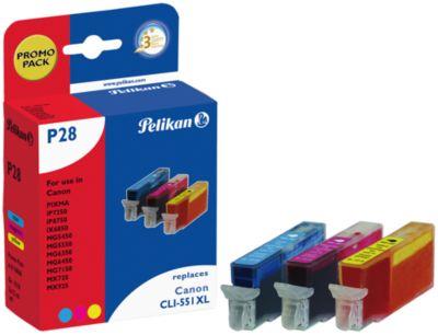 Sparpaket 3 Stück Pelikan Tintenpatronen baugleich mit CLI-551XL CMY, cyan/magenta/gelb