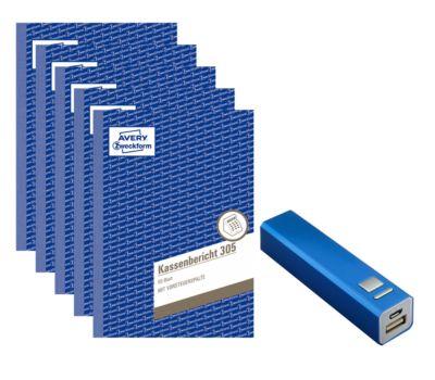 Sparset Avery Zweckform 5 x Kassenbücher 305 +  gratis Powerbank