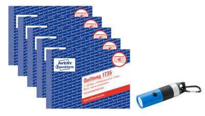 Sparset Avery Zweckform 5 x Quittungsbuch 1735 + gratis LED-Leuchte